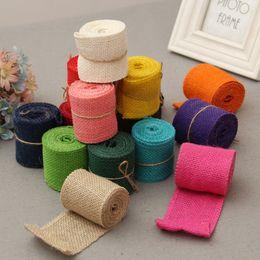 Wholesale 6cm wide Original color linen belt Rural Linen Ribbon Wedding Decorative Accessories Natural Jute Burlap Roll for Table Runner