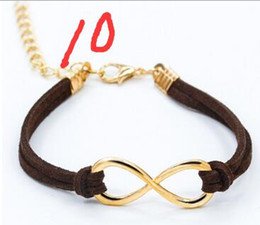 Promotion boutiques de charme mode chaud cuir infini bracelet d'or saley 11 couleurs jewlery diy Bracelt avec les achats de chute de fermoir