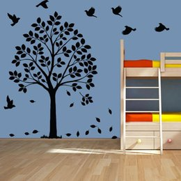 Wholesale White Wall Sticker Tree HAPPY TREE COT SIDE TREE BIRDS DIY Removable wall decal sizes colors