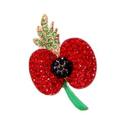 1.8 Inch Red Enamel and Rhinestone Crystal Diamante Poppy Flower Brooch with Leaf