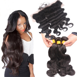 Raw Human Hair Weave Malaysian Body Wave With Lace Frontal Natural Color Free Middle 3Way Part 13X4 Lace Frontal With Bundles Cheap