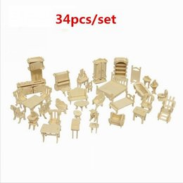 34 set Furniture assembly sylvanian families miniature chair miniature dollhouse furniture accessories Develop intelligence DIY