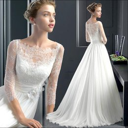 Wholesale New Arrival Elegant Wedding Gowns with Applique Sheer Neck Long Sleeve Designer Wedding Dresses Affordable Lace Wedding Gowns for