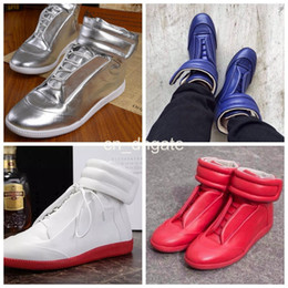Wholesale Men s Brand Designer Maison Martin Margiela Sneakers Kanye West High Top Patent Genuine Leather Casual Flat Margiela Sneakers Red Shoes