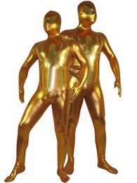 Golden Spiderman Costume Shiny Metallic Zentai Full Body Halloween Bodysuit Spiderman Halloween Cosplay Costume for kids and adults