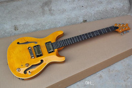 Free shipping 2014 Hot Sell Music Instrument Half a hollow JAZZ Private Stock orange Guitar