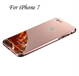 Wholesale 2 in Metal Bumper Case with Electroplating Acrylic Mirror Back Cover Case For Iphone plus S Plus Samsung Galaxy Note