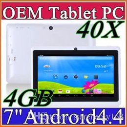 Puces de tablette double cœur à vendre-40X DHL bon marché 2017 comprimés wifi 7 pouces 512 Mo 4 Go RAM A33 Quad Core Allwinner Android 4.4 Capactif Tablet PC double caméra facebook Q88 A-7PB