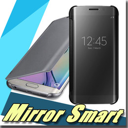 Wholesale Hyperbolic Mirror Smart Clear View Leather Wallet Flip Hard Back Case All around protection For Galaxy S7 edge Plus S7 for iphonese s