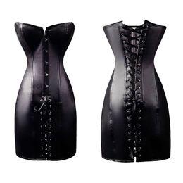New Off-Shoulder Wet Look Corset Women Lace-up Sexy Black Faux leather Gothic Boned Long Corset Dress W7957