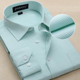 Wholesale-2016 New Mens Non-iron Fitted Business Long Sleeve Square Collar Dress Shirt 37-44