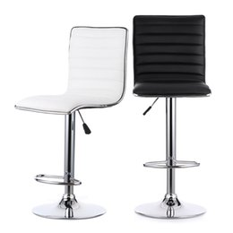 Wholesale IKAYAA Set of PU Leather Pneumatic Swivel Bar Stools Chairs Height Adjustable Counter Pub Chair Barstools Heavy duty US STOCK H16717