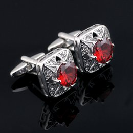 Jewelry Luxury Crystal Cufflinks For Mens High Quality Red Crystal Square Cuff Link Free Shipping X-541