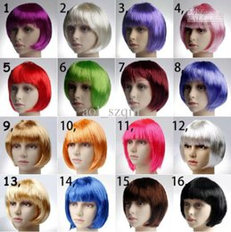 Short Straight Cosplay Party Fancy Dress Fake Hair Wig Red Blue Green White Pink Purple Grey