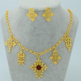 Wholesale Ethiopian Traditional Festivals Jewelry set Ethiopians Cross k Gold Plated Eritrea Ethiopian Orthodox Tewahedo Church