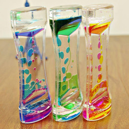 Wholesale 1 Piece Floating Color Mix Illusion Timer Liquid Motion Visual Slim liquid Oil Glass Acrylic Hourglass Timer Clock Ornament Desk