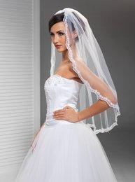 Top Qualityr Best Sale Elbow White Ivory Lace Applique veil Mantilla Veil Bridal Head Pieces For Wedding Dresses