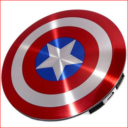 Wholesale NEW HOT power bank mAh Solid Shell Dual USB The Avengers Captain America Shield fast Charge Mobile Power Supply portable charger