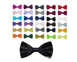 Wholesale Men's Women's Bowtie Bow Tie Solid Colors Plain Silk Polyester Pre Tied Ties For Party Wedding