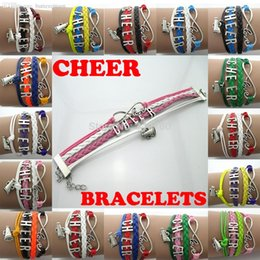 Wholesale CHEER letters beer Cup big infinity with love Charms antique silver plated metal bracelets multilayers Handmade For cheers