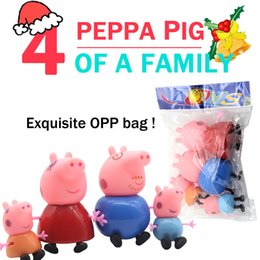 Wholesale Zorn Peppa Pink Pig cartoon Plastic doll Decoration style play house toy Page Pig toys for the children Christmas Gifts opp bag