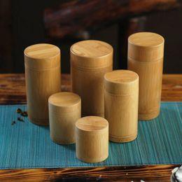 Wholesale Size vintage bamboo tea box Storage box tea canister Boxes tea jar caddy seal storage bottle case handmade organizer spice jar