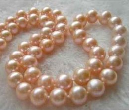 HOT 18 INCH 9-10MM SOUTH SEA GOLD PINK PEARL PEARL NECKLACE 14K GOLD CLASP