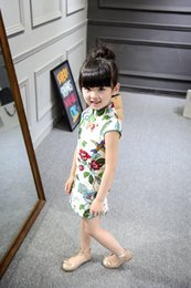 Wholesale Skirt China Wholesale - Hot Sale 2016 fashion beauty summer new style tangzhuang qipao China printed dress cute lovely girl's skirt