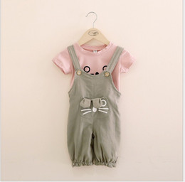 Wholesale 2016 Summer Lovely Girls Cartoon Clothing Sets Children Short Sleeve T shirt Suspender Pants Kids Outfits Baby Girl Cartoon Cat Suit