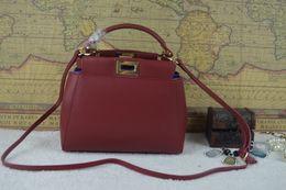 Wholesale 2016 woman lady mini new fashion genuine leather handbag shoulder bag double f messenger bag