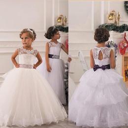 2016 Spring Flower Girl Dresses Vintage Jewel Sash Lace Net Baby Girl Birthday Party Christmas Communion Dresses Children Girl Party Dresses