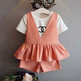 Wholesale Children Set Kids Suit Outfits Girl Dress Kids Tank Tops Short Sleeve T Shirt Summer Shorts Child Clothes Kids Clothing Lovekiss C24996