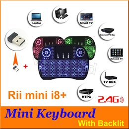 Wholesale 3 color LED Light Rii Mini i8 plus Fly Air Mouse Wireless with backlit Keyboard Touchpad Remote Control Flymouse For TV BOX MINI PC MXQ