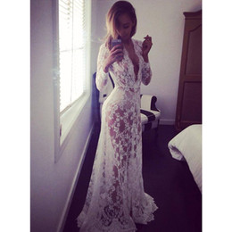 Wholesale White Plain Plunging Neckline Long Sleeve Lace Adjust Waist See through Sexy Maxi Dress S XXL Free Shippig