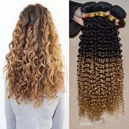 Promotion 27 bouclés ombre Cheap Goddess remi Extension de tissage de cheveux humains 3 pièces / lot de couleur 1b / 27 Deux tons sans transformation Nature peruian Curly Ombre Weave 3,4,5pcs / lot