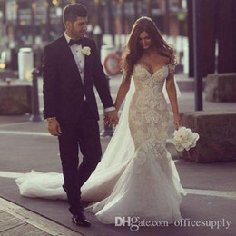 2018 Gorgeous Steven Khalil Dubai Arabic Wedding Dresses Mermaid Off the Shoulder Full Length Backless Lace Bridal Gowns