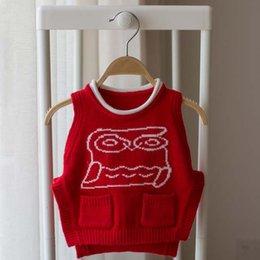 Wholesale Owl Children Vest Korean Boys Girls Baby Sweaters Fashion Kids Vest Autumn Crochet Sweater Vest Child Clothes Kids Clothing Ciao C27754