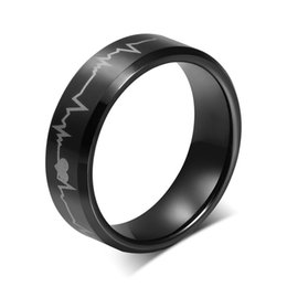 High Quality Unique Smooth 316L stainless Steel Rings Electrocardiogram Heartbeat Track Recoding Shape Black Band Ring Free Shipping