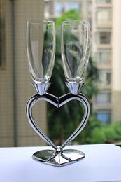 Wholesale Fashion silver red wine cup set pair heart shape champagne glass high quality wine cup beautiful wedding gift