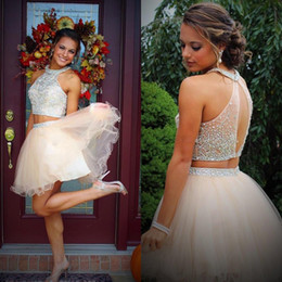 Fashion Two Pieces Halter Homecoming Dresses 2016 Beading Crystal Top Tulle Short A Line Party 8th Grade Graduation Prom Dress Cocktail