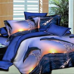 Impression poly à vendre-Housse de couette Top Fashion 1 Set (4 pièces) Full Same As Image Feuille de lit 2016 Hot Sale 3d Dolphin Imprimer Poly / coton 4 Couverts Duvet Cover