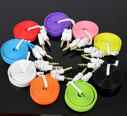 3.5mm 3ft Cord Male to Male Audio Cable Colorful Flat Noodle AUX Cables for Ipad Iphone Speakers Media Player