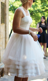 Wholesale Wedding Dresses Justin Alex with Sheer Straps and Tiered Skirt Knee Length Real Brides Little Ball Gown vestidos de novia Plus Size
