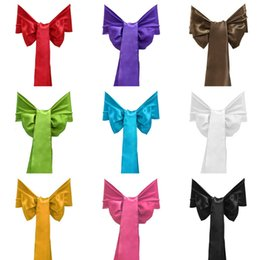 Wholesale Satin Chairs Sashes - Satin Chair Sashes Banquet Sash Wedding Party Bows Tie Decoration Chair Cover Sash Bow Wedding Anniversary Sashes