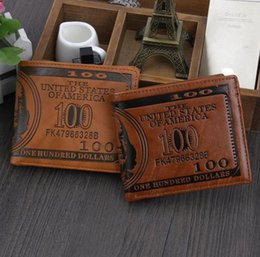 Wholesale New US Dollars Leather Wallets Mens Wallets Coin Holder Card Purse Vintage Design Money Bifold Wallets Birthday Creative Gift