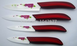 Wholesale Global quality quot quot quot quot inch kitchen knives ceramic knife set with sheath printed flower red handle zirconia beauty gift