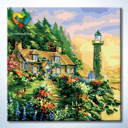 Wholesale Waiting Lighthouse Wall Art DIY Painting Baby Toys x60cm Artistical Canvas Oil Painting Drawing Wall Art for Lover Gift