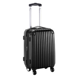 Wholesale 20 quot Expandable ABS Carry On Luggage Travel Bag Trolley Suitcase Black