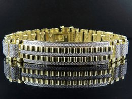 Wholesale Mens K Yellow Gold MM Railroad Style Real Diamond Bracelet ct Inch