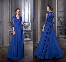 2016 New Elegant Royal Blue Mother's Dresses Robe De Soiree V-neck Lace Appliques 3 4 Sleeves Chiffon Mother of the Bride Prom Dresses